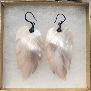 Vintage Abalone Feather Earrings
